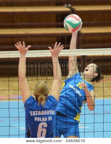 KAPOSVAR, HUNGARY - OCTOBER 2: Karmen Kovacs (12) in action at a Hungarian NB I. League volleyball game Kaposvar (yellow number) vs Tatabanya (white number), October 2, 2011 in Kaposvar, Hungary.