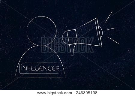 Social Media Marketing Conceptual Illustration: Influencer User With Megaphone Symbol Of Digital Con