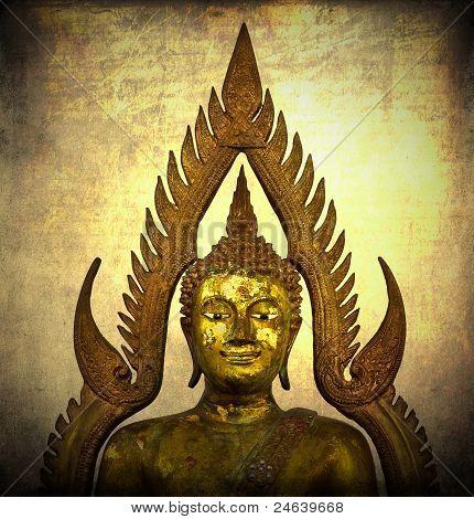 Classic buddha statue on grunge background