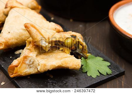 Vegetarian Samosas A Selection Of Vegetarian Samosas With Mango Chutney And Raita