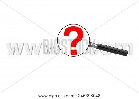 Internet Search Concept. Www Question Mark Com Site Name With Magnifying Glass On A White Background