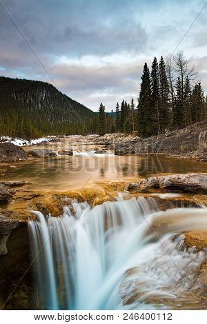 Elbow Falls Near Bragg Creek, Alberta In Kananaskis At Sunrise
