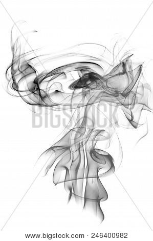 Gray Smoke On A White Background, Abstract Smoke Swirls Over White Background, Fire Smoke, Movement