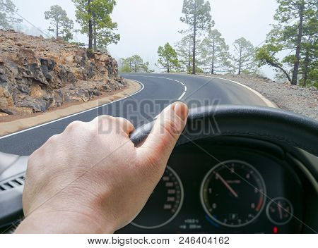 Male Hands Holding Car Steering Wheel. Hands On Steering Wheel Of A Car Driving On Road Near The Lak