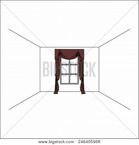 Luxury Silk Velvet Curtains And Draperies. Curtains In The Interior Of The Window.