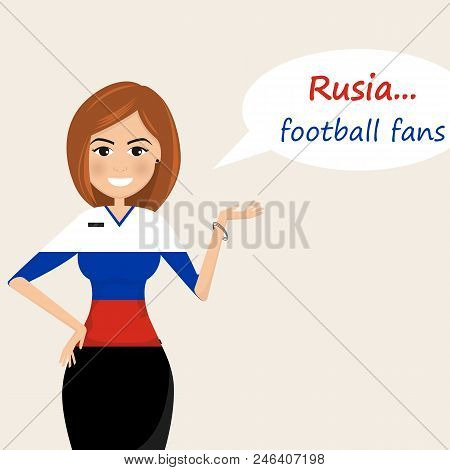 Russia Football Fans.cheerful Soccer Fans, Sports Images.young Woman,pretty Girl Sign.happy Fans Are