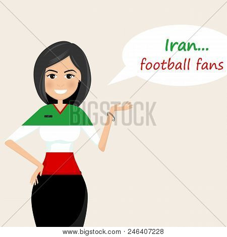 Iran Football Fans.cheerful Soccer Fans, Sports Images.young Woman,pretty Girl Sign.happy Fans Are C