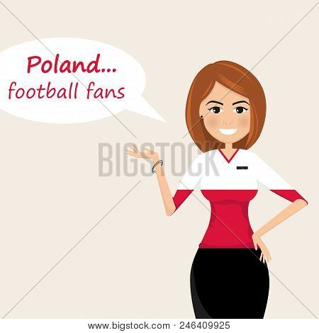Poland Football Fans.cheerful Soccer Fans, Sports Images.young Woman,pretty Girl Sign.happy Fans Are