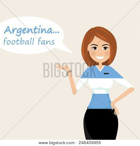 Argentina Football Fans.cheerful Soccer Fans, Sports Images.young Woman,pretty Girl Sign.happy Fans