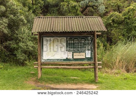 Royal Natal National Park, South Africa - March 15, 2018: The Information Board At The Start Of The