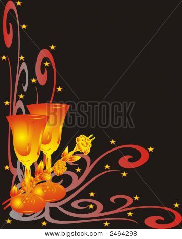 Greetings Card - Champagne Glasses