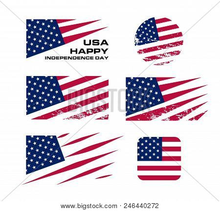 Usa Flag Set With Scrapes On White Background, Vector Illustration. American National Design Element