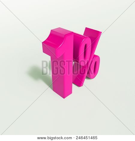 3d Illustration 1 Percent Discount Sign, Sale Up To 1, 1 Sale, Pink Percentages Special Offer, Save