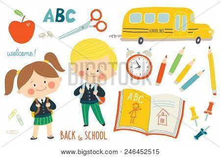 School Set : Characters And Objects. Children In School Uniforms With Backpacks. School Bus, School