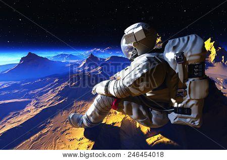 Astonaut sits on the planet..3d render