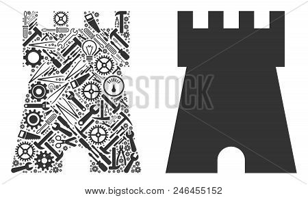 Bulwark Tower Collage Of Repair Tools. Vector Bulwark Tower Icon Is Made Of Cogs, Screwdrivers And O