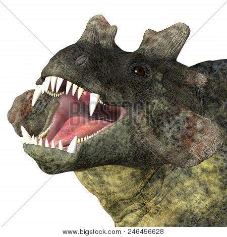 Estemmenosuchus Mirabilis Dinosaur Head 3d Illustration - Estemmenosuchus Mirabilis Was An Omnivorou