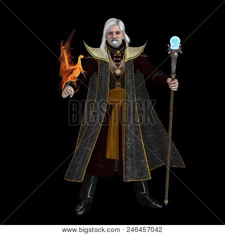 Magic Wizard On Black 3d Illustration - A Magical Wizard Holds His Golden Winged Pet Dragon And His