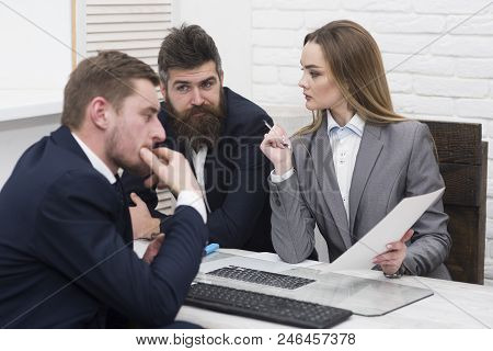 Business Partners Or Businessmen At Meeting, Office Background. Woman Lawyer Or Accountant Consultin