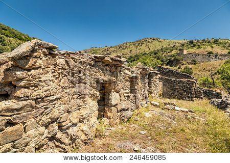 Derelict Stone Farm Buildings In Balagne Region Of Corsica