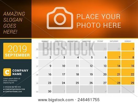 September 2019. Desk Calendar For 2019 Year. Vector Design Print Template With Place For Photo, Logo