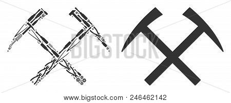 Mining Hammers Composition Of Workshop Instruments. Vector Mining Hammers Icon Is Constructed Of Gea