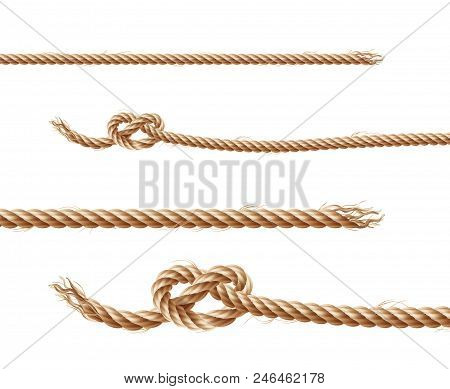 Vector Set Of Realistic Brown Ropes, Jute Or Hemp Twisted Cords With Loops And Knots, Isolated On Wh