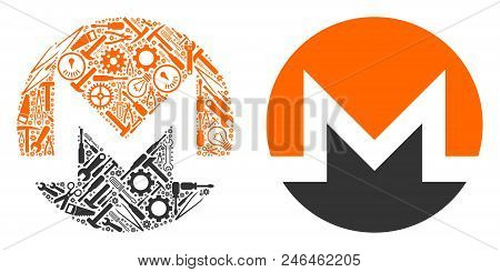 Monero Currency Collage Of Service Instruments. Vector Monero Currency Icon Is Made Of Cogwheels, Ha