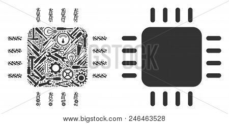 Processor Collage Of Workshop Tools. Vector Processor Icon Is Made Of Gears, Wrenches And Other Tech