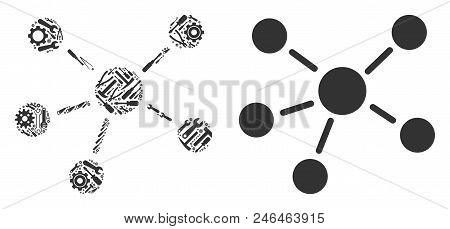 Relations Collage Of Service Instruments. Vector Relations Icon Is Designed Of Gears, Screwdrivers A