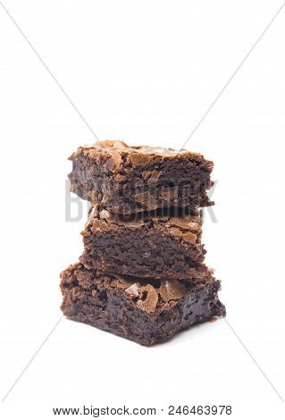 Homemade Gooey Double Chocolate Brownies On A White Background