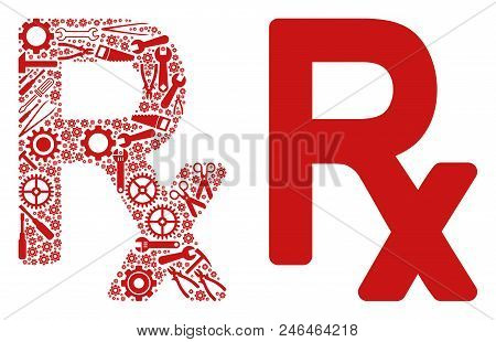 Rx Symbol Mosaic Of Service Instruments. Vector Rx Symbol Icon Is Constructed From Gearwheels, Spann