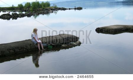 Lonely Girl By Lake