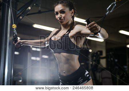 Brunette Sexy Athletic Young Girl Working Out In Gym