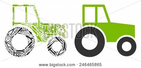 Wheeled Tractor Collage Of Service Instruments. Vector Wheeled Tractor Icon Is Shaped Of Cogwheels,