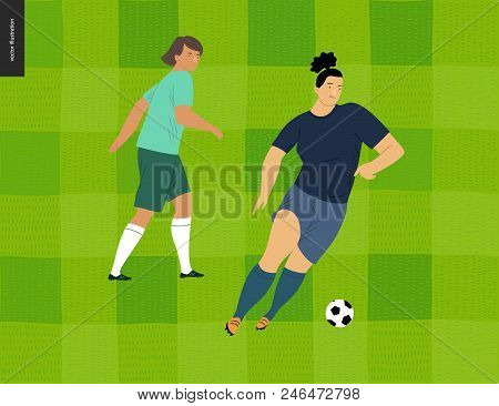 Womens European Football, Soccer Player - Flat Vector Illustration - Two Young Weman Wearing Europea