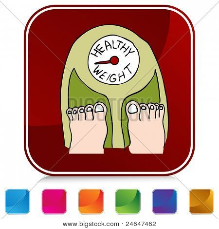An image of a healthy weight scale on a colorful button.