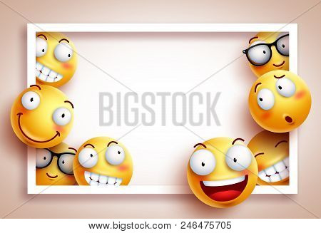Smileys Background Vector Template With White Boarder Frame And Empty Blank Space For Text And Funny
