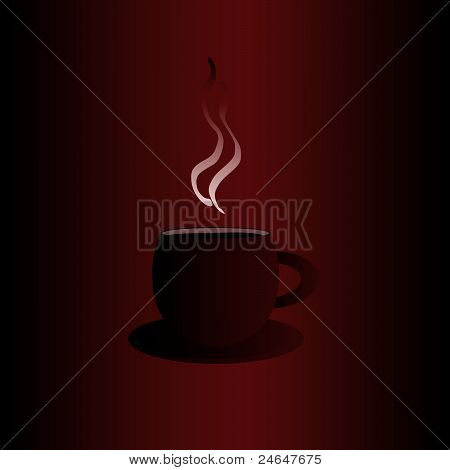 Dark red coffee mug with light steam and blue frame on the red background, simple coffee symbol