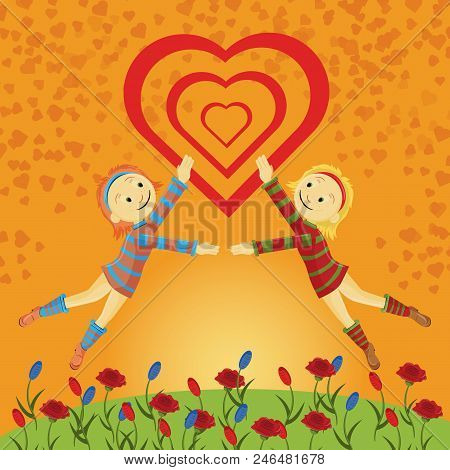 Vector Flat Illustration Two Little Girls On A Green Lawn In A Dress Among Flowers Simultaneously Ju