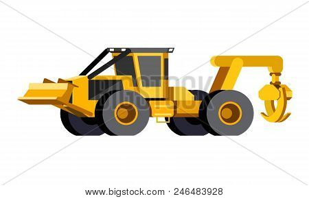 Minimalistic icon wheeled skidder front side view. Grapple skidder vehicle. Modern vector isolated illustration. poster