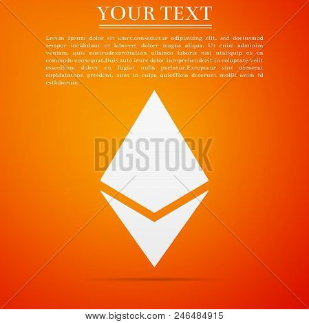 Cryptocurrency Coin Ethereum Eth Icon Isolated On Orange Background. Physical Bit Coin. Digital Curr