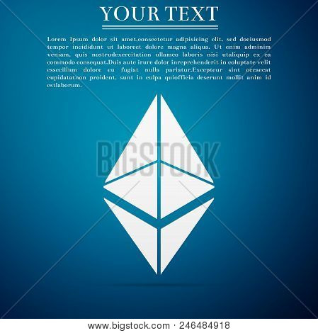 Cryptocurrency Coin Ethereum Eth Icon Isolated On Blue Background. Physical Bit Coin. Digital Curren