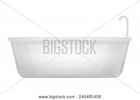 Bathtub Mockup. Realistic Illustration Of Bathtub Vector Mockup For Web Design Isolated On White Bac