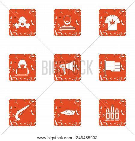 Burglary Icons Set. Grunge Set Of 9 Burglary Vector Icons For Web Isolated On White Background