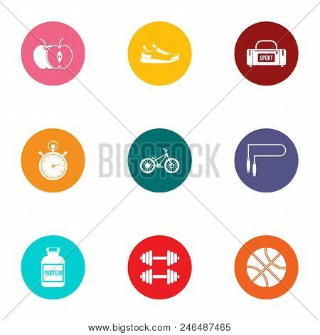 Sport Foodstuff Icons Set. Flat Set Of 9 Sport Foodstuff Vector Icons For Web Isolated On White Back