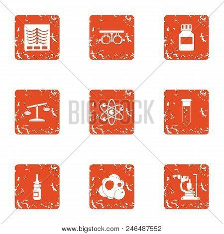 Skin Treatment Icons Set. Grunge Set Of 9 Skin Treatment Vector Icons For Web Isolated On White Back