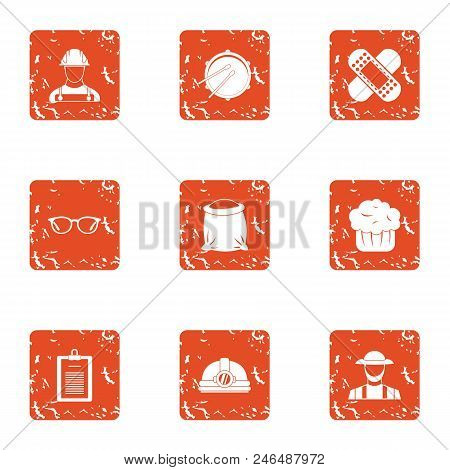 Accident Prevention Icons Set. Grunge Set Of 9 Accident Prevention Vector Icons For Web Isolated On