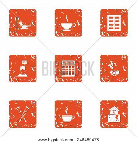 Tea Conversation Icons Set. Grunge Set Of 9 Tea Conversation Vector Icons For Web Isolated On White