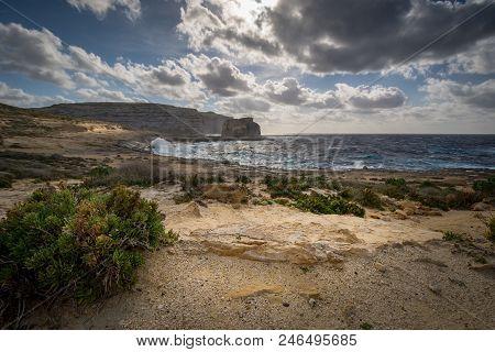 Fungus Rock In The Dwejra Bay, Malta Gozo